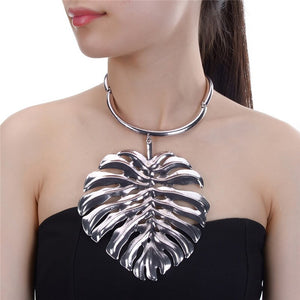 STATEMENT Over Sized Antique Silver Huge Leaf choker Necklace