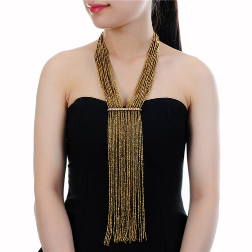 STATEMENT Hand made Gold Bead Multi Tassel Long Bib Necklace