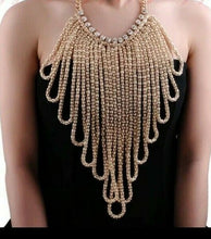 Gold Celeb Statement Bib Crystal Necklace Multi Layer Mesh Chains