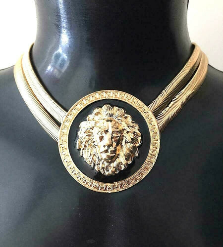 STATEMENT CELEB Gold Black Lion 2 Row Choker Collar Necklace
