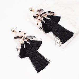 "STATEMENT Celeb Gold Handmade Animal Black Long 4""Tassel Earrings"