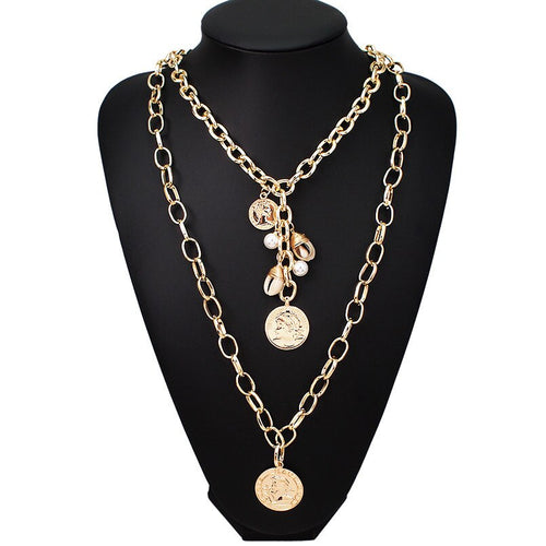 Celeb Statement Gold Chain Layered Crystal Necklace Set
