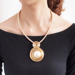 Statement Gold Big Pearl Metallic Cord Necklace