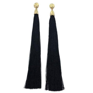 EXTRA LONG Celeb Gold 8 inch Black Tassel Earrings