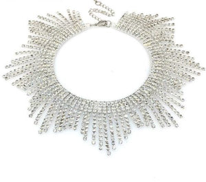 Glam Silver Pave Crystal Fringe Collar Choker Necklace