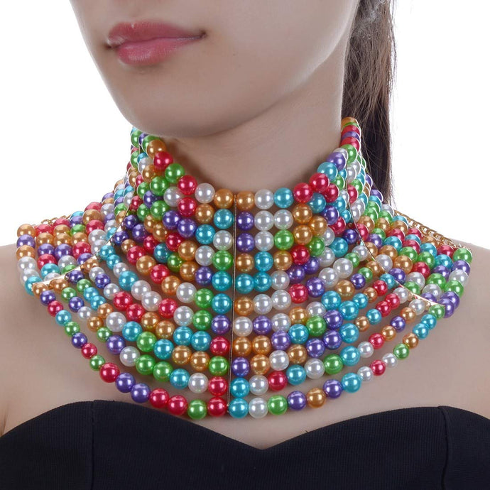 LUXE Statement Gold Wide Multi Coloured Pearl Choker Necklace