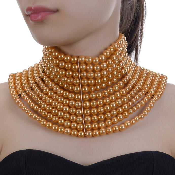 LUXE Statement Gold Wide Golden Yellow Pearl Choker Necklace