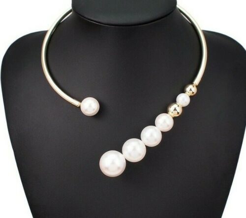 Statement Gold Big Pearls Open Cuff Style Choker Necklace