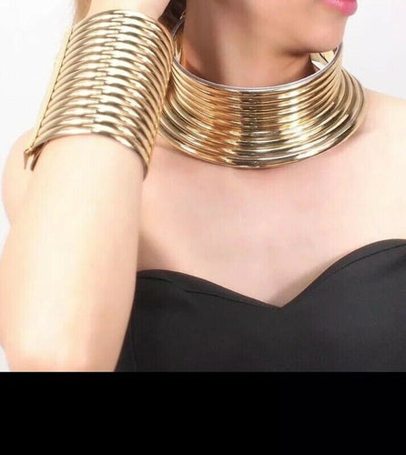 Gold Faux Leather  Choker Necklace & Cuff Bracelet Set