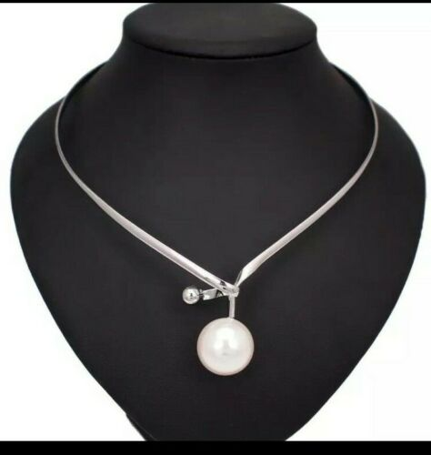 Silver Big Cream Pearl Choker/ Collar Necklace