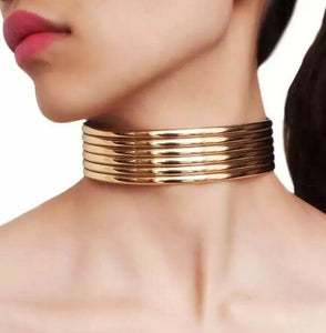Gold Super Shine 1.18 inch Choker Vinyl Faux Leather Necklace