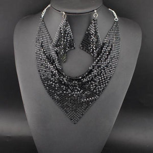 Statement Celeb Black Fluid Choker Collar Bib Necklace Set