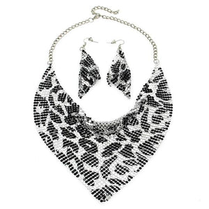 Statement Celeb Silver Animal choker Collar Bib Necklace Set