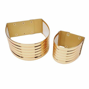 Gold Super Shine Choker Necklace & Cuff Bracelet Set