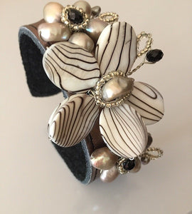 Zebra Fresh Water Pearl Multi Crystal Bronze Leather Cuff Bracelet