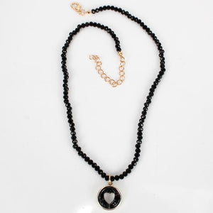 Gold Handmade Layered Pearl Black Jet Crystal 3 Necklace Set