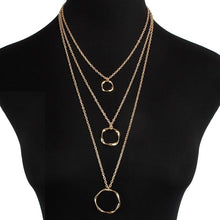 HOT Celeb Statement Gold Chain Layered Long Circle Necklace