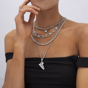HOT Celeb Silver Chain Layered Crystal Safety Pin Lock Necklace