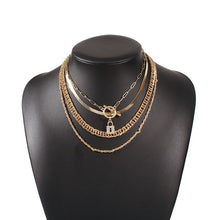 HOT Celeb Gold Multi Chain Layered Crystal Lock Charm Necklace