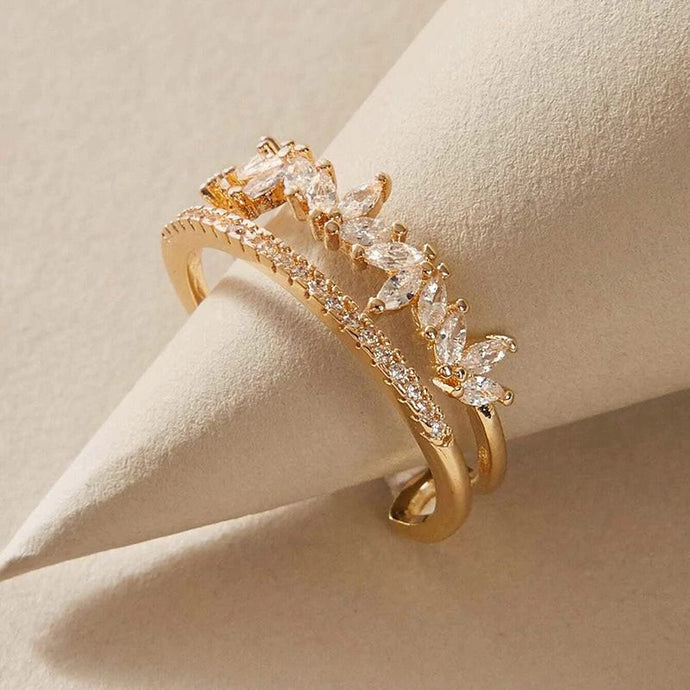 GOLD Sparkling CZ Adjustable 2 Row Cuff Clear Adjustable Ring
