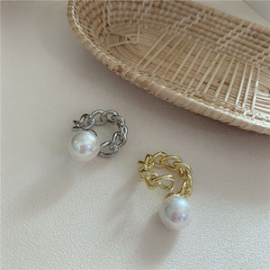 Unusual Gold Faux Pearl Curb Chain Adjustable Wrap Over Ring