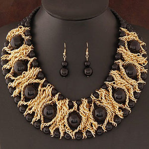 Gorgeous Statement Gold Black Braided Metal Chain Necklace Set