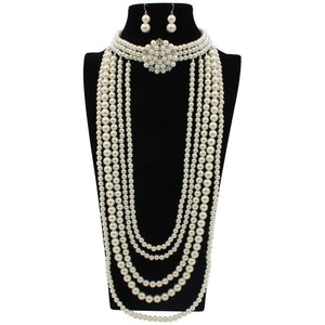FABULOUS Statement Silver Pearl Layered Long Choker Necklace Set