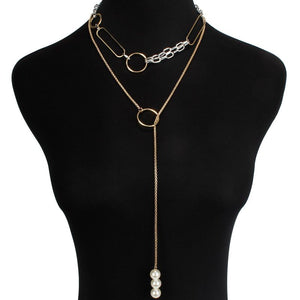 Gold Layered Pearl Choker Long Circle Adjustable 2 Necklace Set