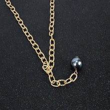 Statement Gold Layered Pearl Black Charcoal 3 Necklace Set