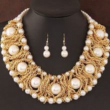 Gorgeous Statement Gold Pearl Braided Metal Chain Necklace Set