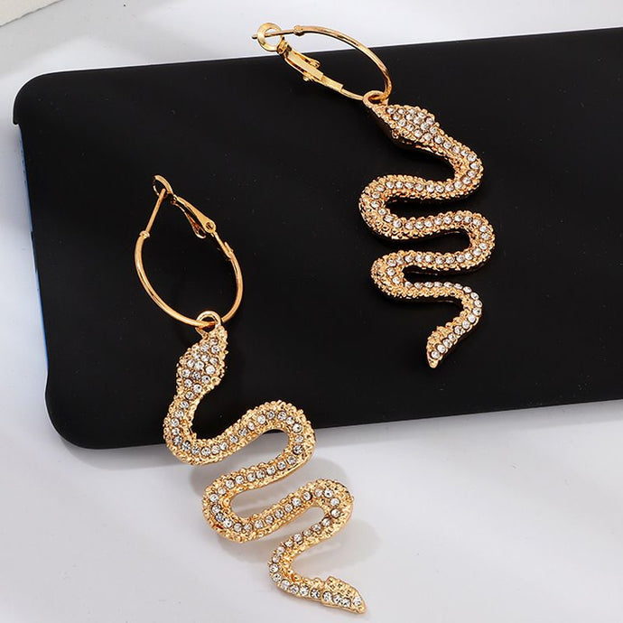 Fabulous Statement Gold Crystal Long Snake Cocktail Earrings