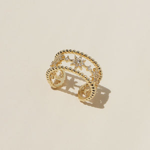 GOLD Sparkling CZ Adjustable Star Cuff Clear Adjustable Ring