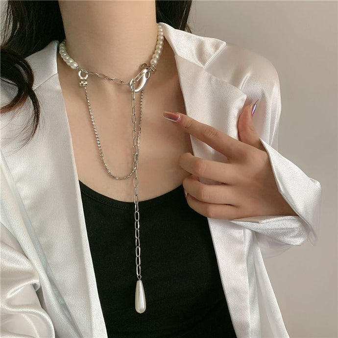 Silver Layered Pearl Choker Long Adjustable Crystal Necklace