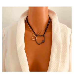 Statement Gold Layered Black Charcoal Chain Heart 2 Necklace Set