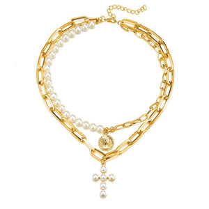 Statement Gold Coin Chain Layered Pearl Cross Necklace