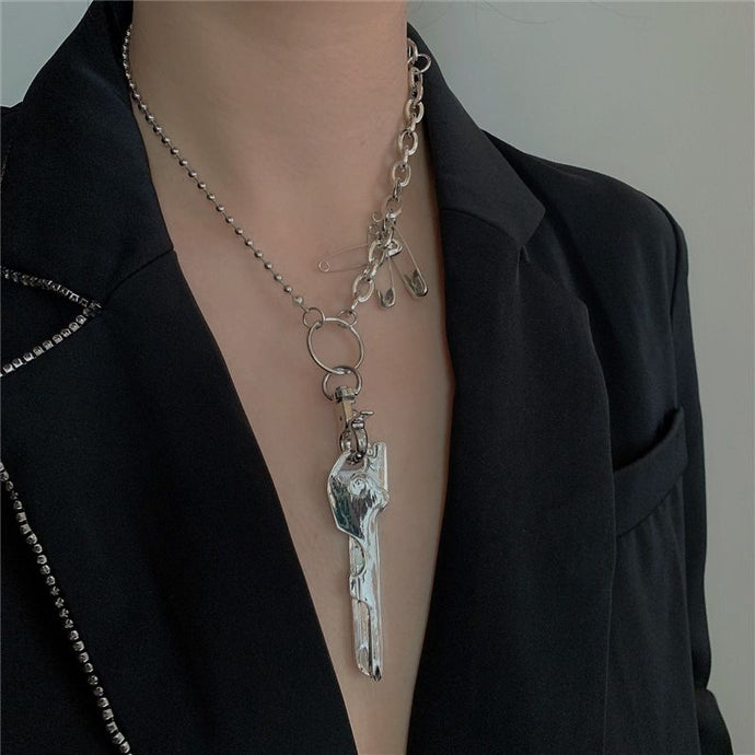 HOT Celeb Silver Chain Quirky Safety Pin Key Statement Necklace