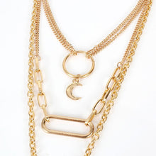 HOT Celeb Gold Chain Layered Moon Star Circle Choker Necklace