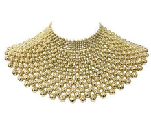 Statement Gold Bead Choker Cape Big Shoulder Necklace