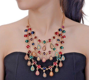 GLAM Statement Gold Multi Crystal Collar Cocktail Necklace