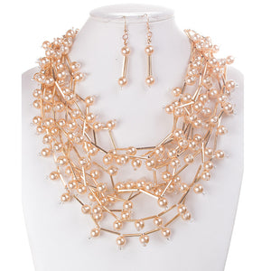 LUXE Unique Statement Gold Pearl Metal Tube Bib Necklace Set