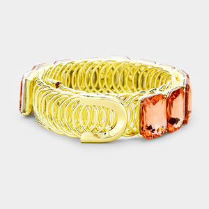 LUSH Gold Peach Crystal Adjustable Cocktail Bracelet