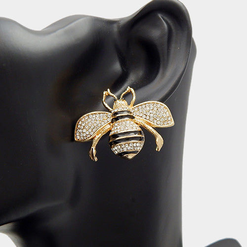 STATEMENT  Gold Black Crystal Honey Bee Cocktail Earrings