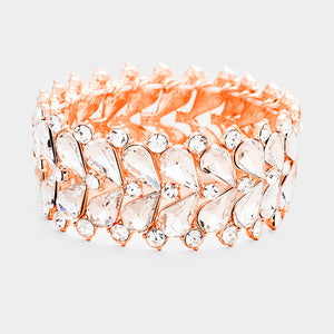 WHIMSICAL Rose Gold AB Crystal Stretch Cocktail Bridal Bracelet