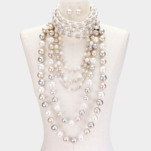 LUXE Statement Silver Beige White Pearl Choker 2 Necklace Set