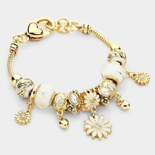Beautiful Gold white pearl flower leaf Charm Bracelet