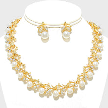 Sophisticated Gold White Pearl Glam Collar Cocktail Necklace Set