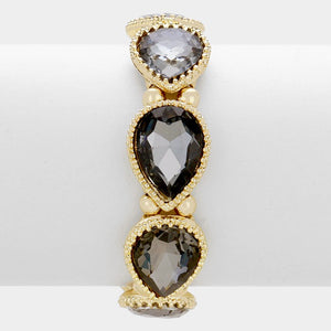 Gold Black Diamond Teardrop Crystal Stretch Cocktail Bracelet