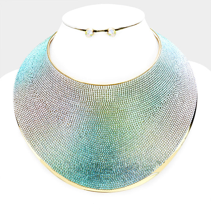 LUXE Statement Gold Blue Multi Crystal Curved Choker Necklace Set