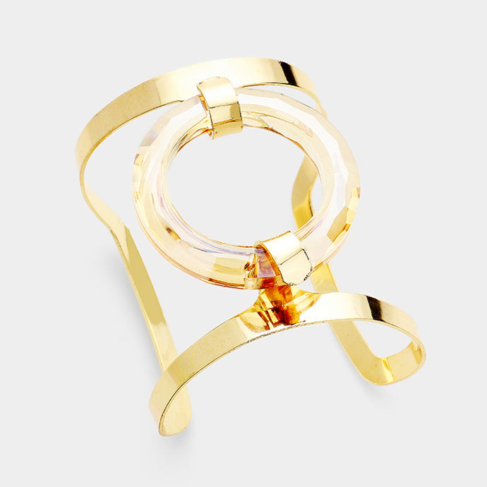 UNIQUE Statement Celeb Gold Champagne Lucite Cuff Bangle Bracelet