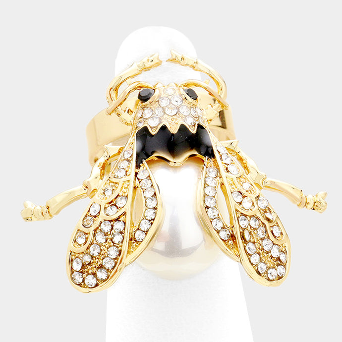 Gold Pearl Jet Crystal Adjustable Big Lady Bird Ring